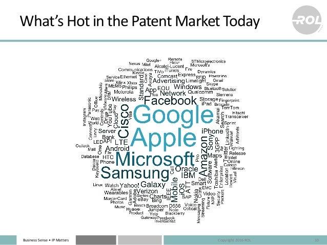 BusinessSense• IPMatters What'sHotinthePatentMarketToday 10Copyright2016ROL