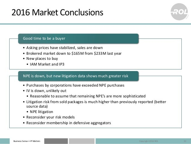 BusinessSense• IPMatters 2016MarketConclusions • Askingpriceshavestabilized,salesaredown • Brokeredmarketdown...