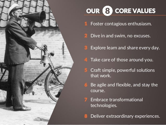 CORE VALUES Foster contagious enthusiasm. Dive in and swim, no excuses. Explore learn and share every day. Take care of th...