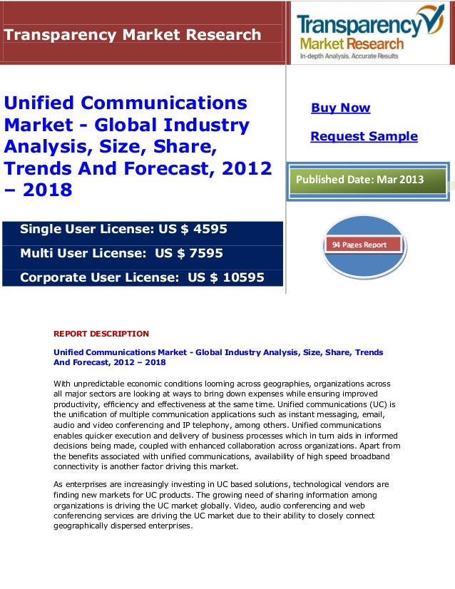 Transparency Market ResearchUnified Communications                                                    Buy NowMarket - Glob...