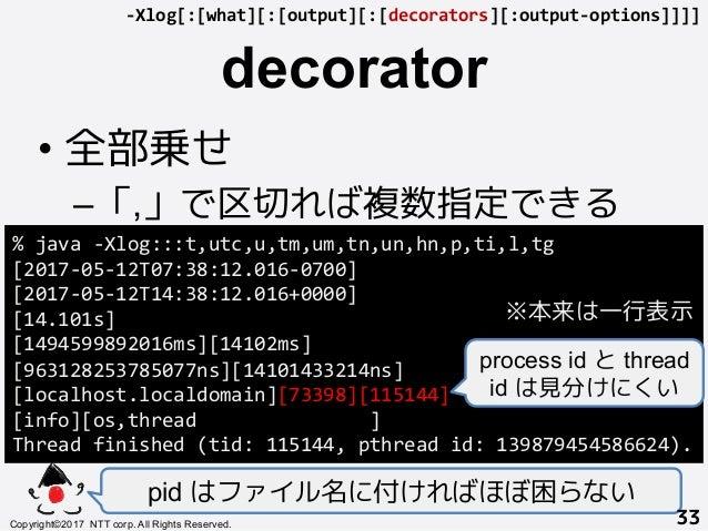 decorator! •全部乗せ –「,」で区切れば複数指定できる+ pid はファイル名に付ければほぼ困らない Copyright©2017 NTT corp. All Rights Reserved.+ 33! %java-Xlog...
