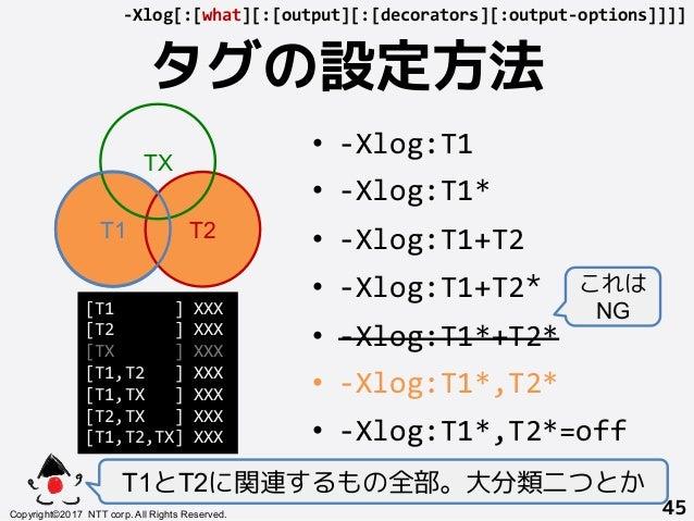 タグの設定方法! T1とT2に関連するもの全部。大分類二つとか Copyright©2017 NTT corp. All Rights Reserved.+ 45! -Xlog[:[what][:[output][:[decorators][:...