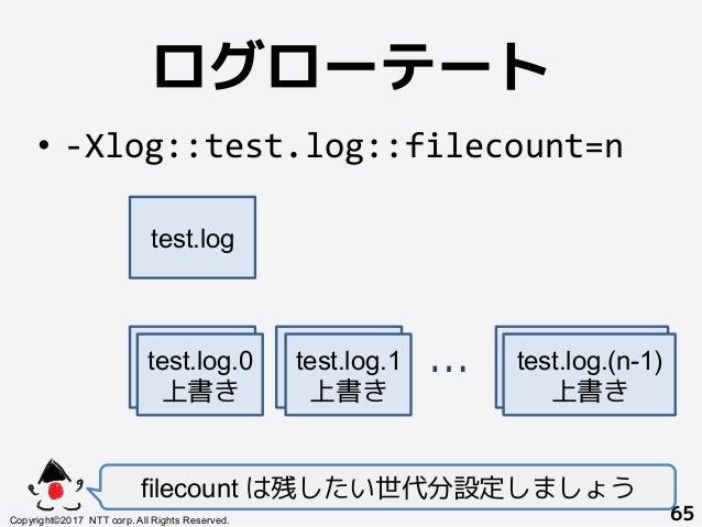 ログローテート! • -Xlog::test.log::filecount=n filecount は残したい世代分設定しましょう Copyright©2017 NTT corp. All Rights Reserved.+ 65! tes...