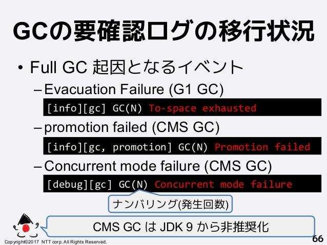 GCの要確認ログの移行状況! • Full GC 起因となるイベント –Evacuation Failure (G1 GC) –promotion failed (CMS GC) –Concurrent mode failure (CM...