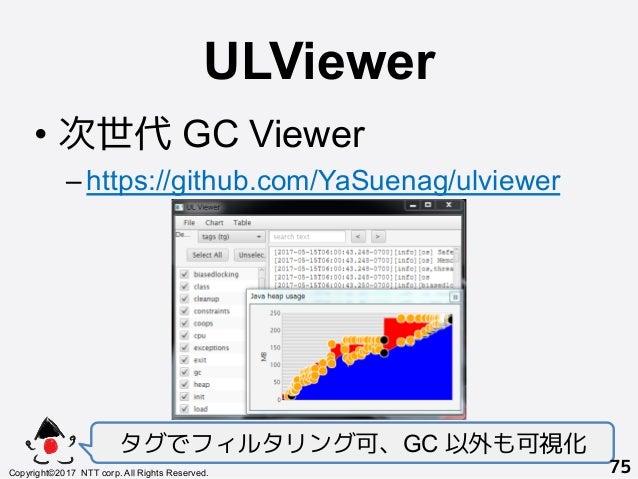 ULViewer! •次世代 GC Viewer –https://github.com/YaSuenag/ulviewer タグでフィルタリング可、GC 以外も可視化 Copyright©2017 NTT corp. All Rights...