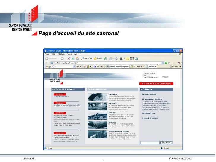 Page d'accueil du site cantonal