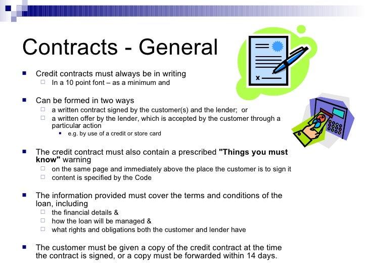 Uniform Consumer Credit Code Content