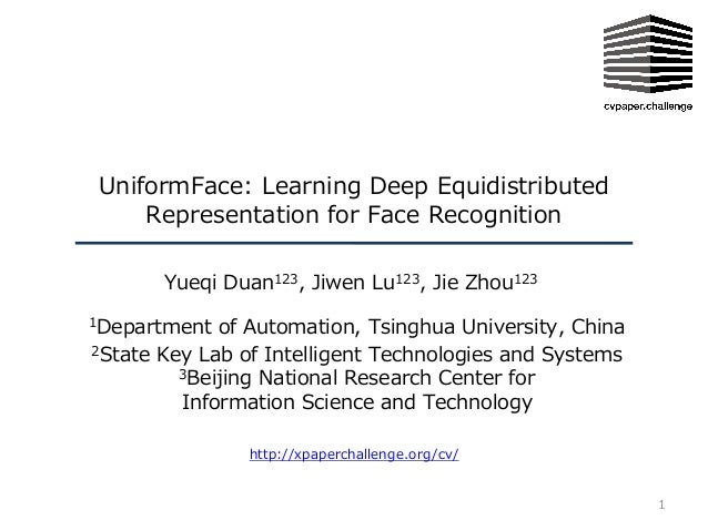 1 http://xpaperchallenge.org/cv/ UniformFace: Learning Deep Equidistributed Representation for Face Recognition Yueqi Duan...