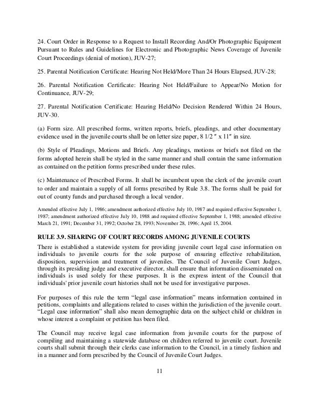 Uniform juvenile court rules 01 22-13