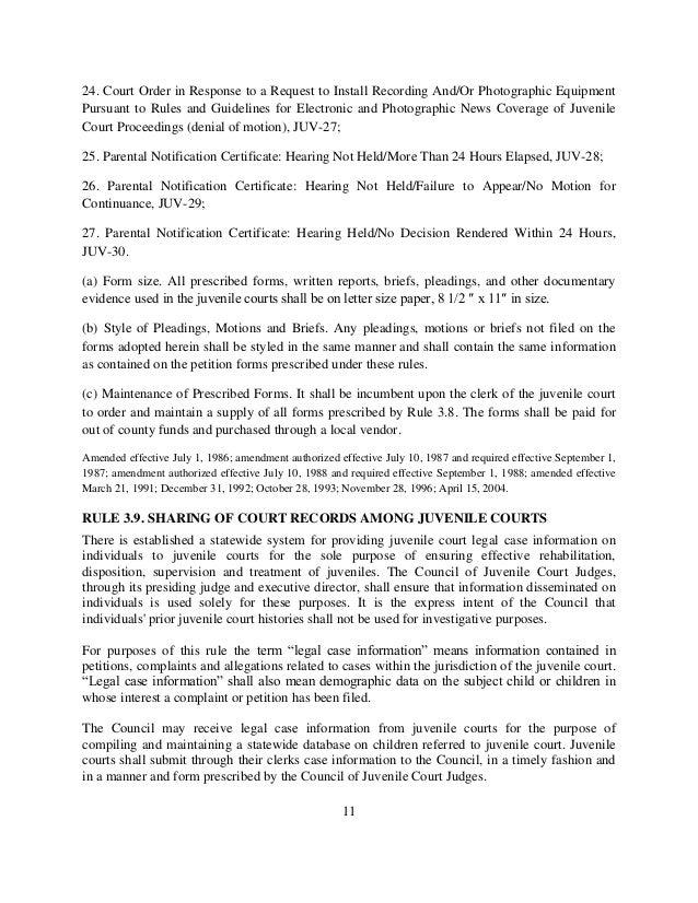 Uniform Juvenile Court Rules 01 22 13