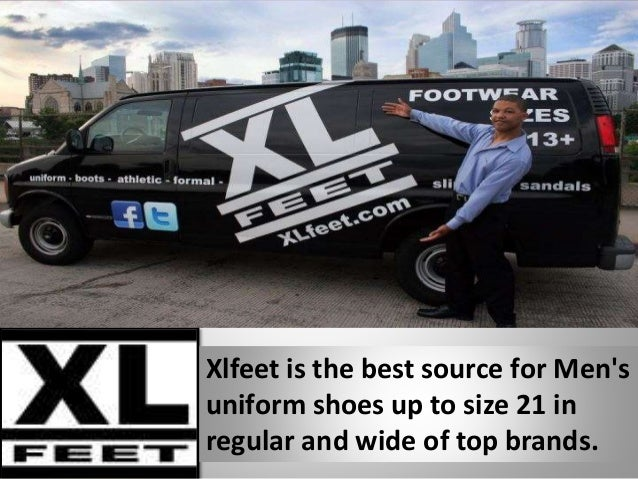 Xlfeet is the best source for Men's uniform shoes up to size 21 in regular and wide of top brands.