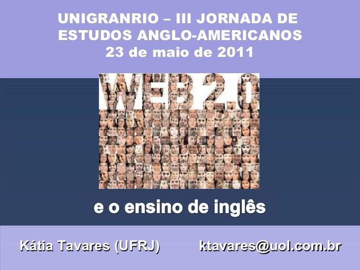 Kátia Tavares (UFRJ)  [email_address] UNIGRANRIO – III JORNADA DE  ESTUDOS ANGLO-AMERICANOS 23 de maio de 2011