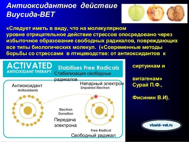 Виусид-ВЕТ является одним из самых активных антиоксидантов, произведенных промышленным способом. Антиоксидантная активност...