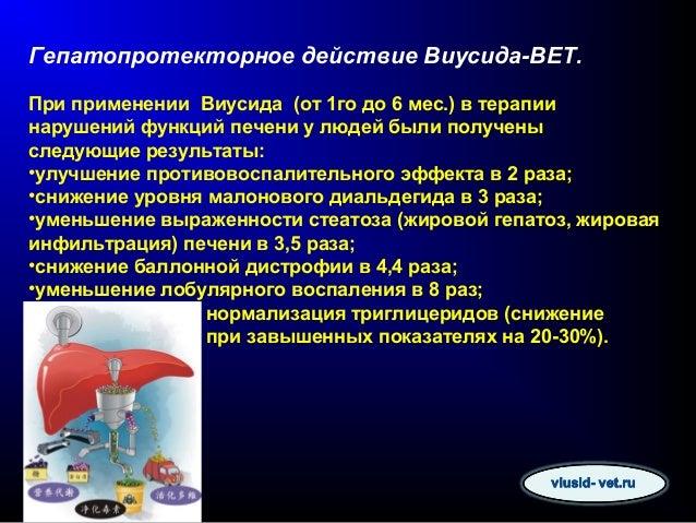Гепатопротекторное действие Виусида-ВЕТ.