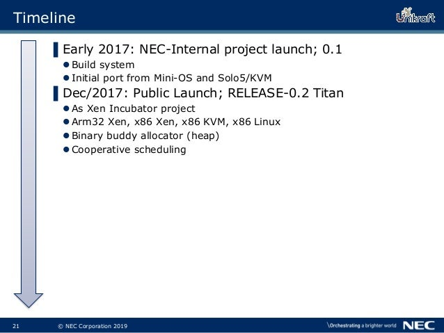 22 © NEC Corporation 2019 Timeline ▌Early 2017: NEC-Internal project launch; 0.1 Build system Initial port from Mini-OS ...