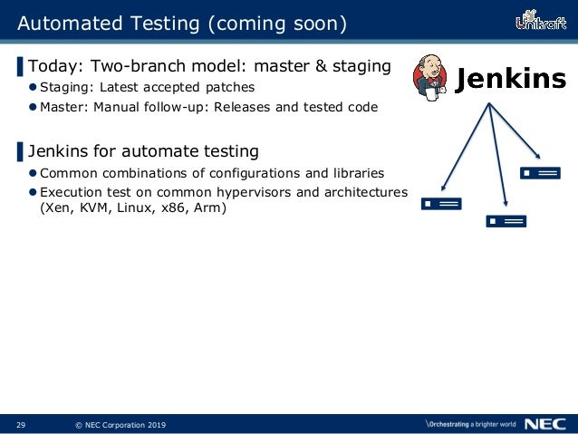 30 © NEC Corporation 2019 Automated Testing (coming soon) ▌Today: Two-branch model: master & staging Staging: Latest acce...
