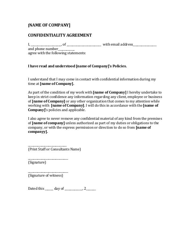 Real Estate Confidentiality Agreement Template.Real Estate Confidentiality  Agreement For Financial Information Sample[/caption]