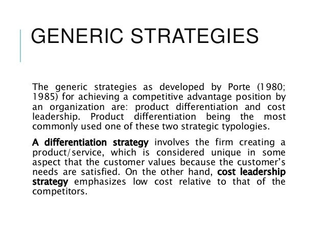 Unilever's Generic Strategy & Intensive Growth Strategies