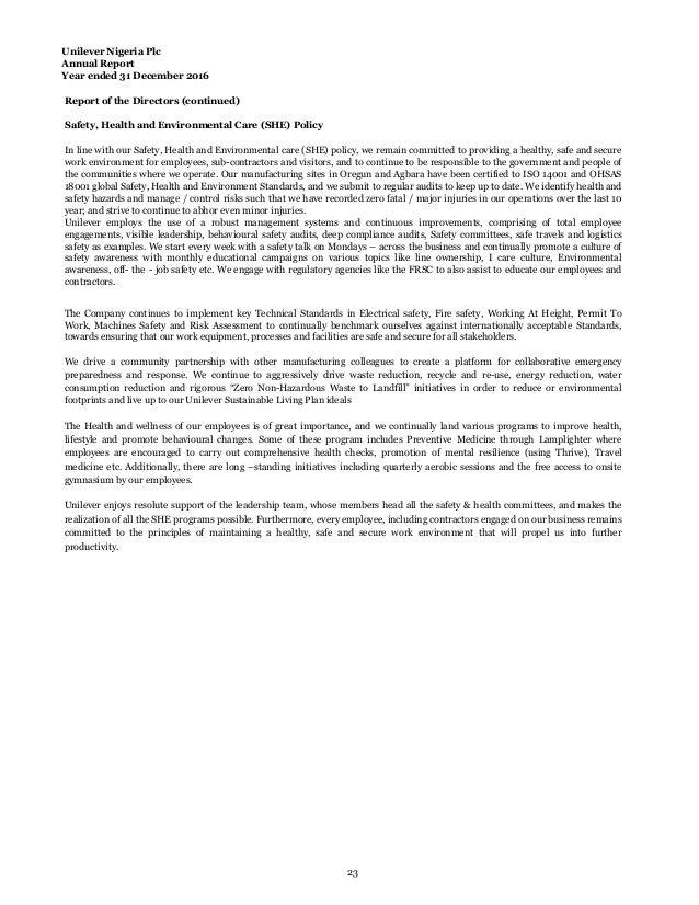 Unilever annual report 2016 22 24 unilever nigeria plc annual report malvernweather Gallery