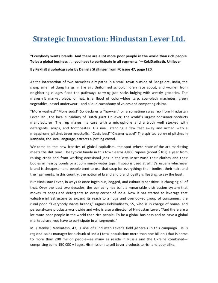 """Strategic Innovation: Hindustan Lever Ltd.<br />""""Everybody wants brands. And there are a lot more poor people in the world..."""