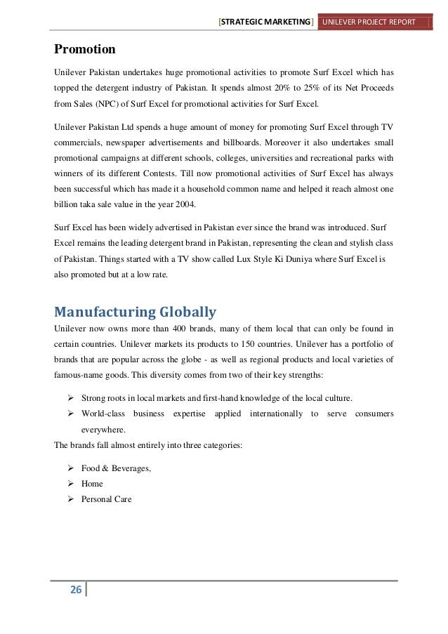 unilever pakistan final project essay Table of contents letter of transmittal 3 summaries of hrm functions 4 unilever pakistan   14 human resource management at unilever 14 diversity.