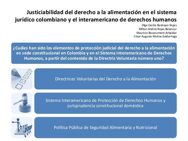 Justiciabilidad del derecho a la alimentación en el sistema  jurídico colombiano y el interamericano de derechos humanos  ...