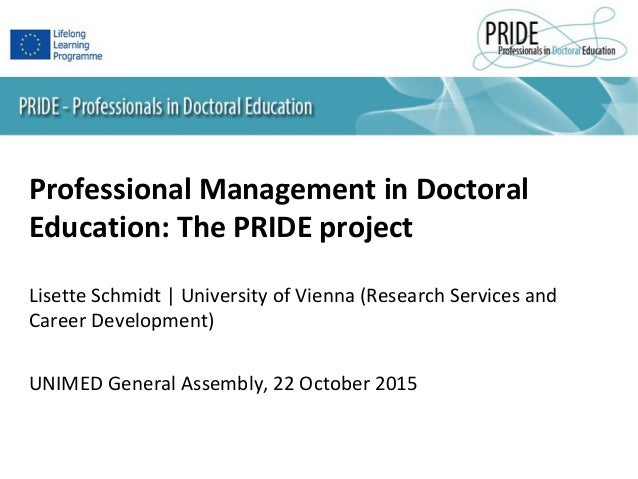 Professional Management in Doctoral Education: The PRIDE project