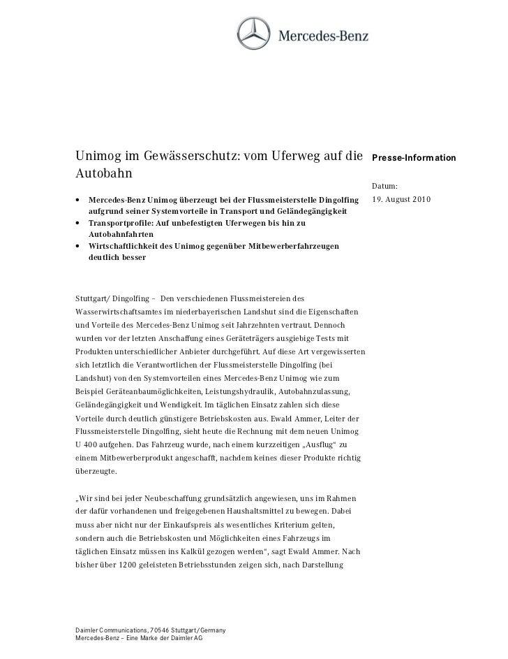 Unimog im Gewässerschutz: vom Uferweg auf die                                     Presse-InformationAutobahn              ...