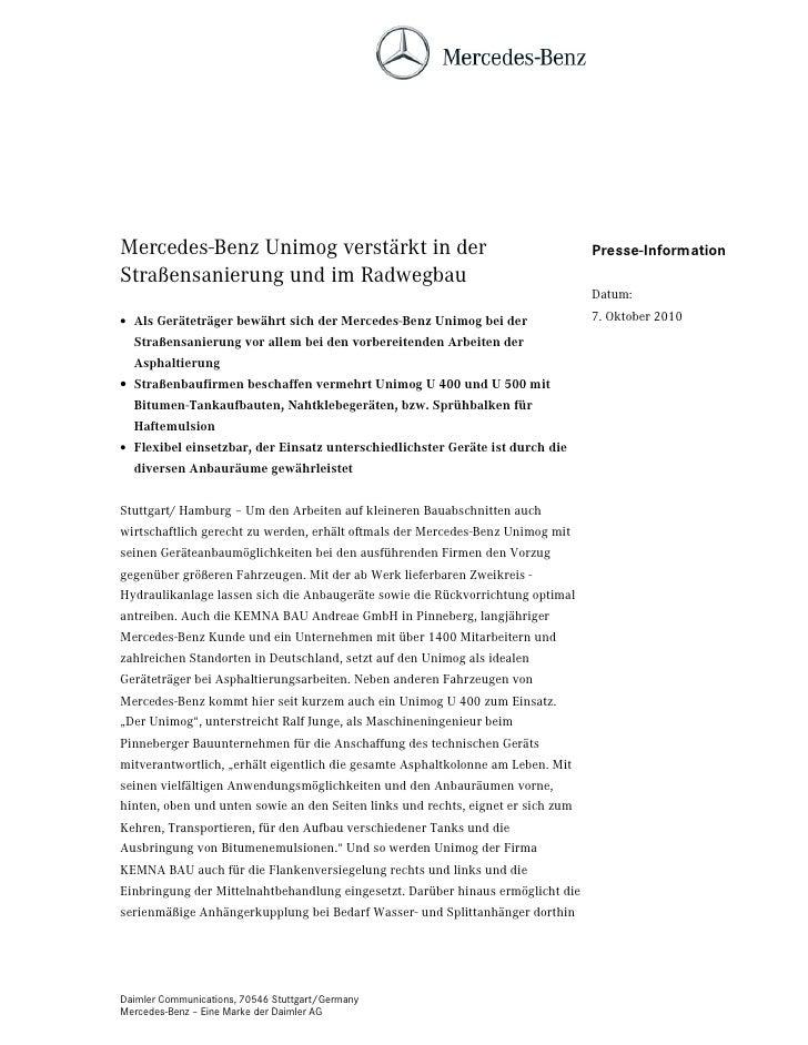 Mercedes-Benz Unimog verstärkt in der                                             Presse-InformationStraßensanierung und i...