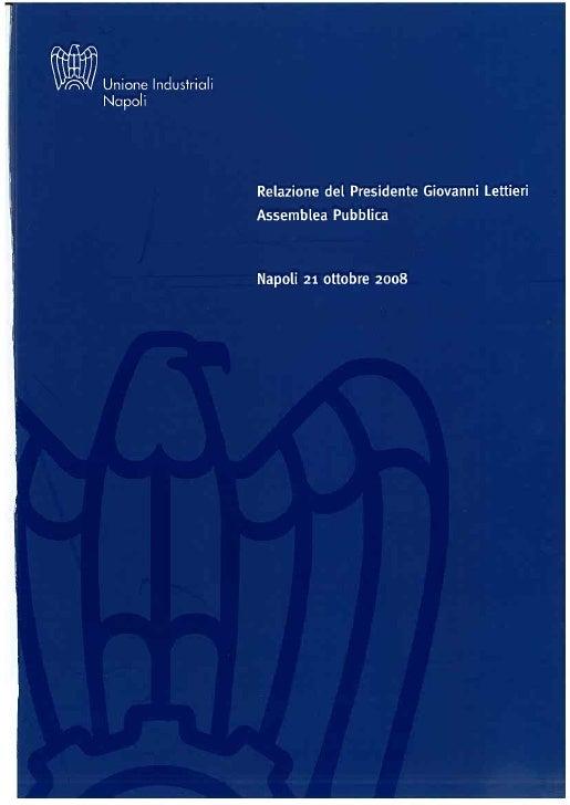 Relazione di Gianni Lettieri - Presidente Unione Industriali di Napoli