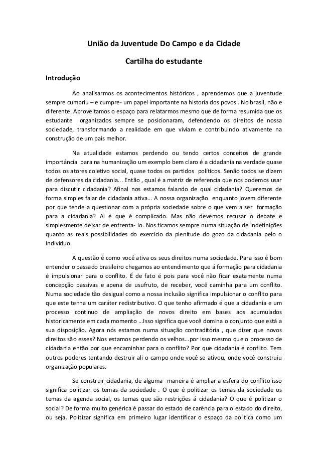 União da Juventude Do Campo e da Cidade  Cartilha do estudante  Introdução  Ao analisarmos os acontecimentos históricos , ...