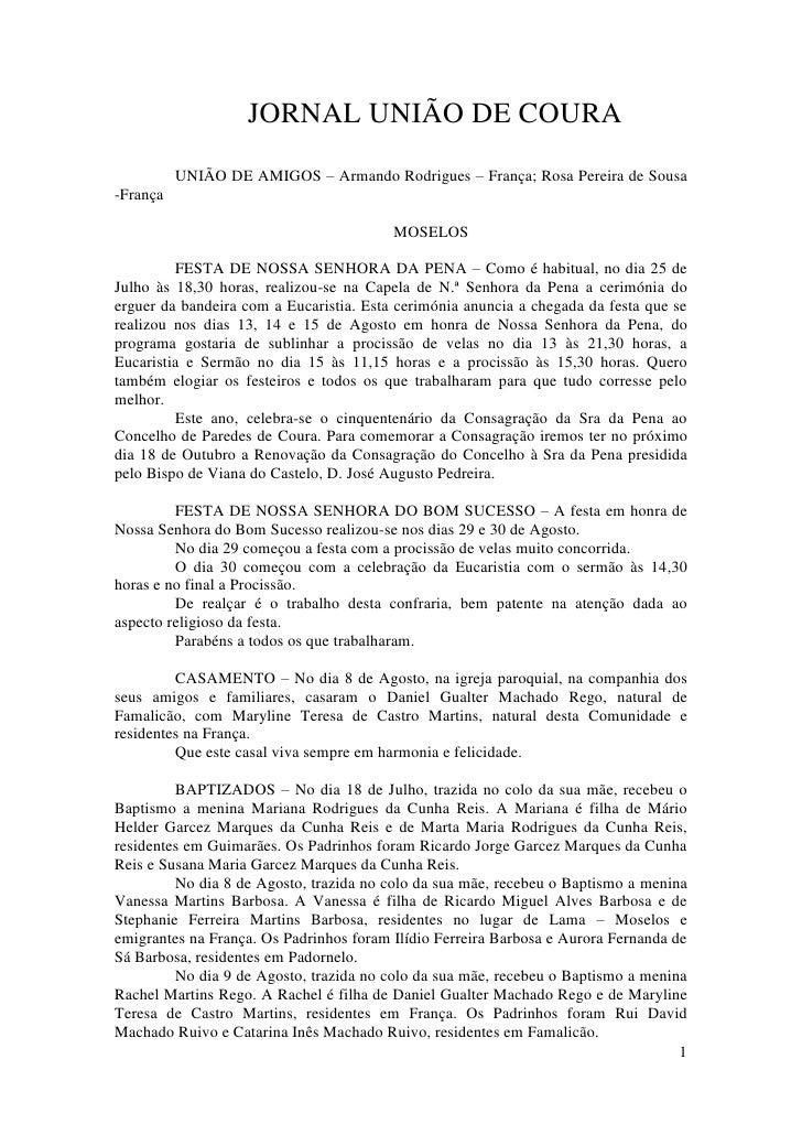 JORNAL UNIÃO DE COURA           UNIÃO DE AMIGOS – Armando Rodrigues – França; Rosa Pereira de Sousa -França               ...