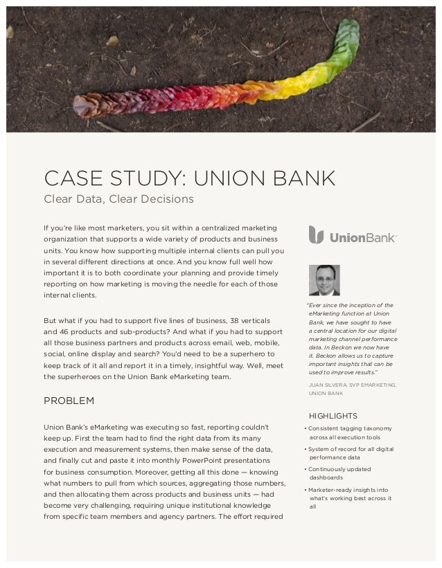 CASE STUDY: UNION BANK Clear Data, Clear Decisions If you're like most marketers, you sit within a centralized marketing o...