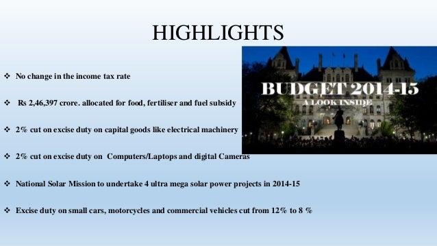 Premise Indicator Words: Union Budget 2014 2015