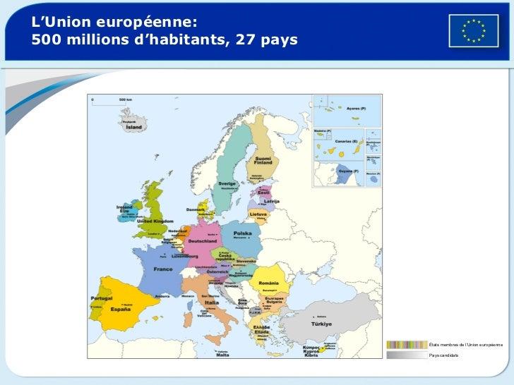 L'Union européenne:  500 millions d'habitants, 27 pays États membres de l'Union européenne Pays candidats