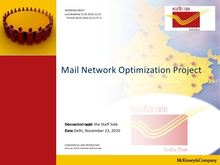 Mail Network Optimization Project  New Delhi, November 23, 2010 Interaction with the Staff Side