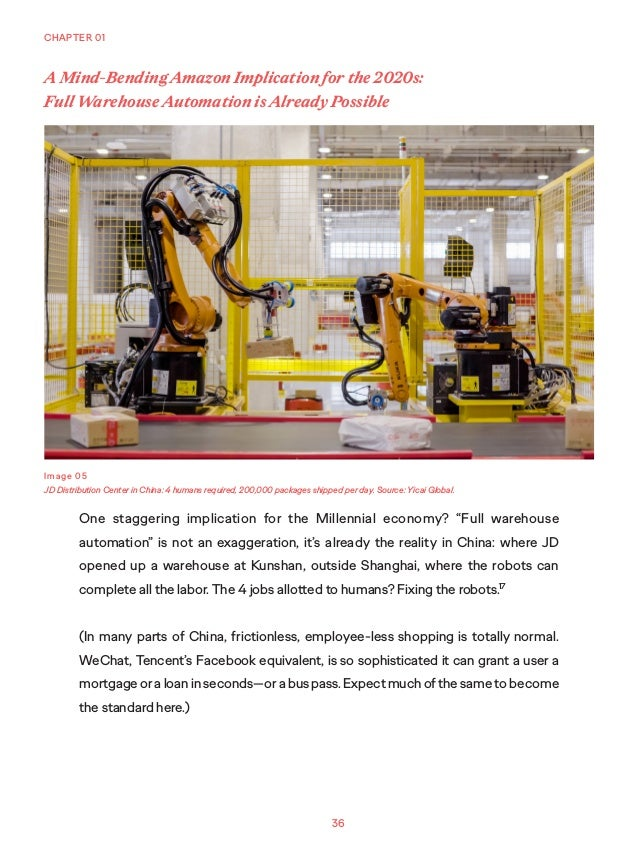 """36 CHAPTER 01 One staggering implication for the Millennial economy? """"Full warehouse automation"""" is not an exaggeration, i..."""