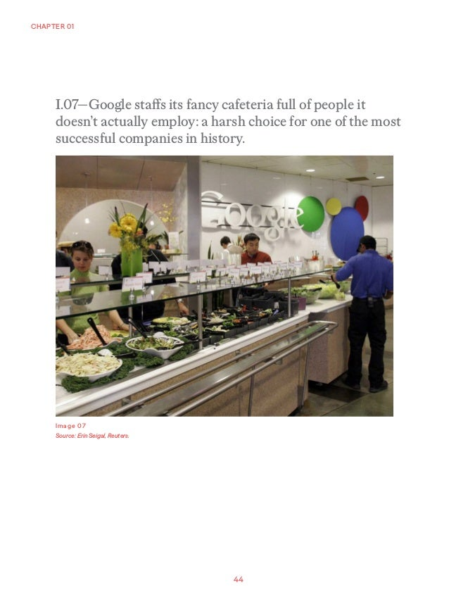 44 CHAPTER 01 Image 07 Source: Erin Seigal, Reuters. I.07—Google staffs its fancy cafeteria full of people it doesn't actu...