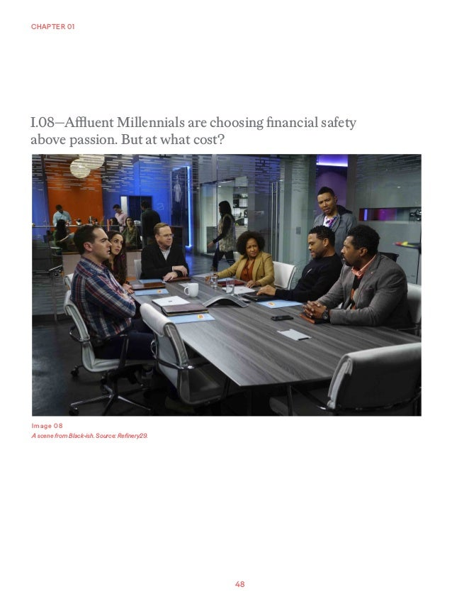 48 CHAPTER 01 Image 08 A scene from Black-ish. Source: Refinery29. I.08—Affluent Millennials are choosing financial safety...