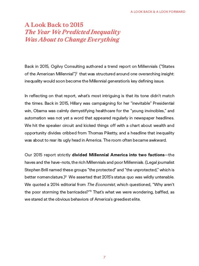 """7 A LOOK BACK & A LOOK FORWARD Back in 2015, Ogilvy Consulting authored a trend report on Millennials (""""States of the Amer..."""