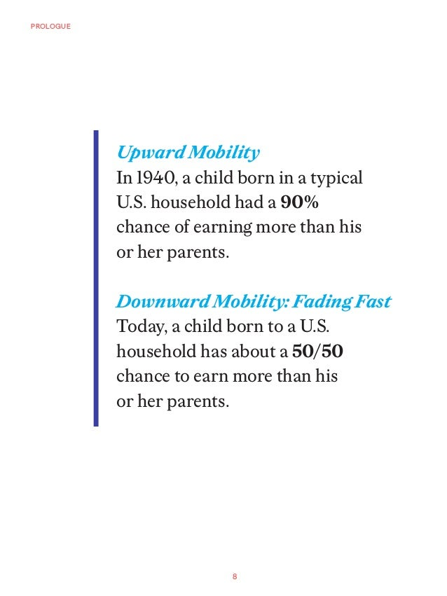 8 PROLOGUE Upward Mobility In 1940, a child born in a typical U.S. household had a 90% chance of earning more than his or ...
