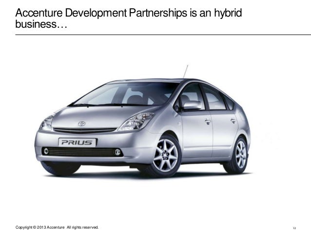 Copyright © 2013 Accenture All rights reserved. Accenture Development Partnerships is an hybrid business… 12