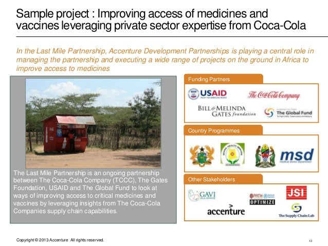Copyright © 2013 Accenture All rights reserved. Sample project : Improving access of medicines and vaccines leveraging pri...