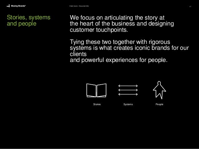 Stories, systems and people We focus on articulating the story at the heart of the business and designing customer touchpo...