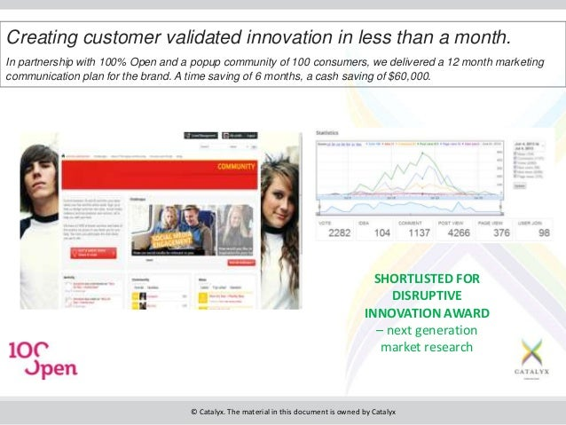 © Catalyx. The material in this document is owned by Catalyx Creating customer validated innovation in less than a month. ...
