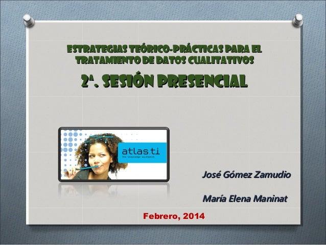 ESTRATEGIAS TEÓRICO-PRÁCTICAS PARA EL TRATAMIENTO DE DATOS CUALITATIVOS  2ª. Sesión Presencial  José Gómez Zamudio María E...