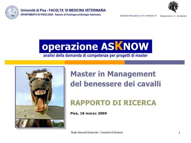 operazione AS K NOW analisi della domanda di competenze per progetti di master Master in Management  del benessere dei cav...
