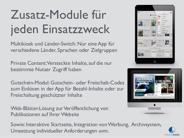 Zusatz-Module für  jeden Einsatzzweck  Multikiosk und Länder-Switch: Nur eine App für  verschiedene Länder, Sprachen oder ...