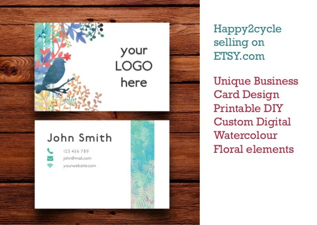 Uniqie business card design custom etsy shop unique business card design printable diy custom digital watercolour floral elements happy2cycle selling on etsy reheart Choice Image