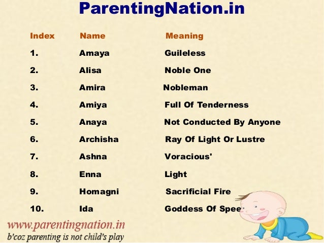 Unique Baby Girl Names Welocome To ParentingNation 2 ParentingNationin Index Name Meaning